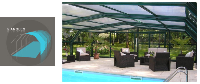 Abri de piscine haut en verre abris angulaires piscine for Piscine du nord