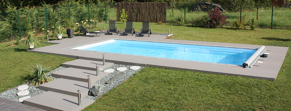 Piscine coque polyester enterr e piscine du nord for Piscine rectangulaire en bois pas cher