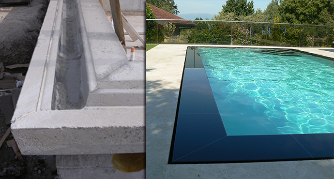 Constructeur piscines b ton coffrage for Revetement piscine miroir